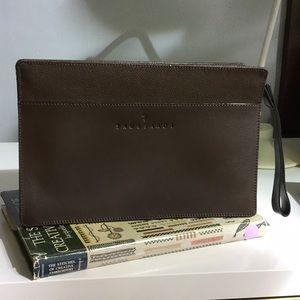 Trussardi brown leather clutch